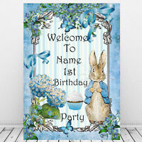 Peter rabbit 1st Birthday Personalised Welcome Sign Boy Party Supplies Blue gift