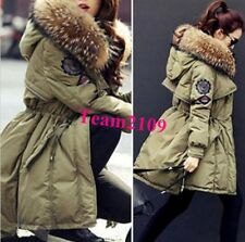 Luxurious Warm Women's Real Fur Hooded Real Down Coat Military Parka Jacket coat