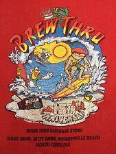 TRUE VINTAGE 1990's BEACH HAWAII SURFING PARTY BREW THRU COTTON T SHIRT SIZE XL