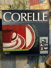 Corelle Dinnerware Set Red White Chip-Resistant Plates Bowls Mugs 4-Setting Pack