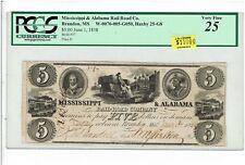 $5 MISSISSIPPI & ALABAMA RAIL ROAD Co. BRANDON, MS. PCGS VF25. HAXBY 25-G8. 1838