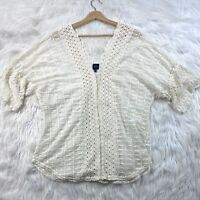 BLUE By Saks Fifth Avenue Semi Sheer Boho Crocheted Mesh Top Size XL Ivory