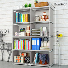 Bookcase 8-Cube Shelving Organizer Home Office Book Storage 4-Shelf Bookshelf Us