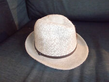 M&S Wool Blend Textured Fedora Style Hat M/L Natural Mix BNWT