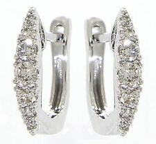 Solid 14K White Gold 0.24CT Real Natural One Liner Diamond Huggies Fine Earrings