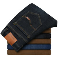 Men's Winter Thermal Denim Pants Jeans Fleece Lined Warm Straight Leg Trousers