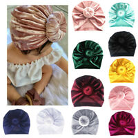 Infant Baby Boys Girls pearls Pleuche Knotted Hat Warm Bow Beanie Headwear Cap
