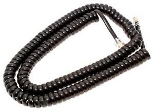 4m Telefonhörer Spiralkabel RJ10 Western 4/4   schwarz