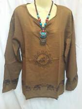 ELEPHANT shirt Long Sleeve VTG MEN BOHO V-NECK dress HIPPIE THAILAND BROWN slim