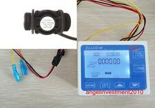 """NEW 3/4"""" Water Flow Control LCD Meter + Flow Sensor"""