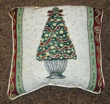 Christmas Topiaries ~ Christmas Tree Tapestry Square Pillow