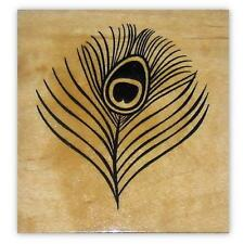 Peacock Eye Feather lg Mounted rubber stamp, fantasy, bridal shower, wedding #20