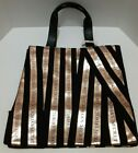 Victorias Secret Canvas Tote Bag Black & Gold Ribbon Stripes Weekender NWT Large