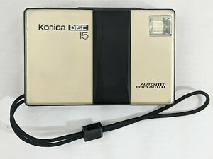 The disc 15 is a Disc Film camera by Konica, c.1983. with autofocus down to macr