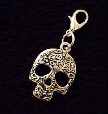 Day of the dead Sugar Skull Charm Clip Borsetta Braccialetto Zip Fiore Messicano AMORE Regno Unito