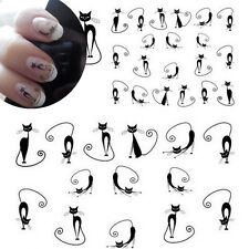 Nail Art Water Decals Transfers BLACK Cute Kitty Cats Kawaii Gel Polish (STZ023)