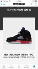 Air Jordan 5 V Retro Top 3 Black Fire Red Bred Grape 8.5 CZ1786-001 Pickup 6/20