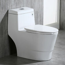Woodbridge Dual Flush Elongated One Piece Toilet with Soft Closing Seat T-0001W