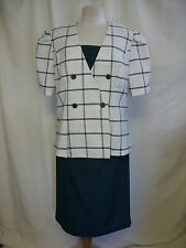 Ladies Skirt Suit Good Times ivory/green, size UK 14, EU 40, mock insert 0737