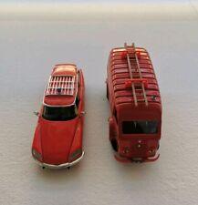 Lot de 2 véhicules de pompiers - CITROËN ID 20 break 1972 /CAMION Renault - 1/43