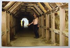 Vintage PHOTO Heavily Tattooed Man With Beer Belly In Shaft Cave Walkway