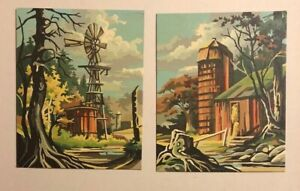 """2 Small Vintage Paint By Number Farm Scene Pair Red Barn Silo Windmill 8x10"""" PBN"""