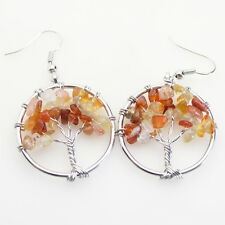 Life Reiki Chakra Silver Hook Earrings Natural Red Agate Chip Beads Tree of