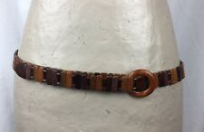 Vintage Hand Crafted Natural Wood Link Belt Round Wood Buckle Brown Womens Boho