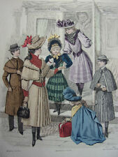 """26/ GRAVURE DE MODE """" Moniteur de la Mode Paris 1891 """".   Grand format 36x26"""