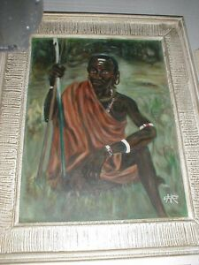 1964 African Masai Warrior OIL PAINTING Signed M.E. CAUDROIN Vtg Kenya Fine Art