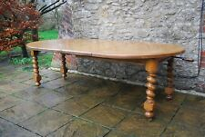 Stunning 8ft (240cm) Antique Solid Oak French Barley Twist Wind-Out Dining Table