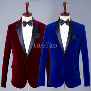 Velvet 2Pcs Suits Jacket Pants Tuxedos Party One Button Groom Wedding Men's size