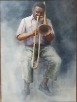 "JOHN KOLB MCIVER(1930) LARGE WATERCOLOR 1978 ""AFRICAN AMERICAN TROMBONIST"""