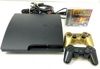 PlayStation 3 PS3 Slim 160GB CECH-3001A Console 2 Controller/ (1) PS1 Game.