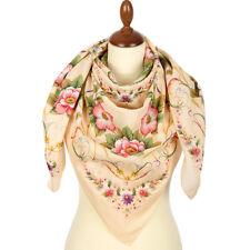 1715-2 WOMEN'S PAVLOVO POSAD SHAWL RUSSIAN 100% COTTON SCARF DRESS WRAP 115cm