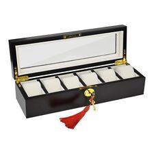 Wooden Watch Display Case Jewelry Collection Storage Organizer Box 6 Grids slots