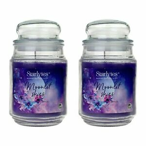 2 x  Starlytes Moonlit Skies Scented Candle 510g 125hr BURN TIME