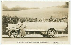 TORQUAY CHARABANC MOTOR TOURS TO DARTMOOR, TORPEDO CAR - Devon Motoring Postcard