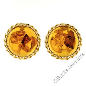 Vintage 14k Yellow Gold Large Round Amber w/ Twisted Frame Button Omega Earrings