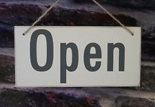 Open Closed Sign Shop Door Wooden Double Sided Shabby Chic Salon