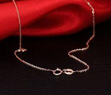 Fine Solid Au750 18K Rose Gold Women's Elegant O Chain Necklace 17inch Xlee