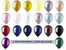 "9"" Inch Colourful Latex Helium Balloons in Pearl Crystal Metallic 20 Colours CTI"