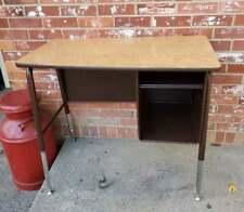 Vintage Child's Brown School Desk Chrome Legs Formica Top