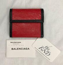 Balenciaga Paris Red Leather Tri-Fold Velro Wallet