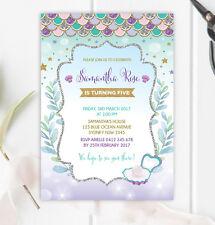 Mermaid Birthday Invitation Under Sea Ocean Party Invite Purple Silver Gold Teal