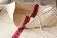 GRAIN SACK Antique grainsack feed bag red & black fustian cotton & Linen FABRIC
