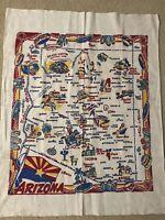 VTG ARIZONA Souvenir Map Tablecloth/Wall Hanging 30 x 39  Muslin Bright Colors