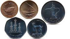 UNITED ARAB EMIRATES 5, 10, 25, 50 FILS 1 DIRHAM 5 COINS SET SHIP FAUNA UNC