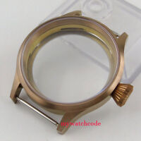 43mm bronze plated parnis Watch CASE sapphire glass fit 6498 6497 eat movement