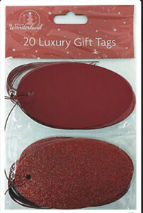 20 Luxury Foil And Glitter Red Tags - 10 Of Each Design - Free Post